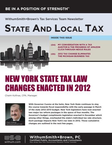 New York State Tax Law Changes Enacted in 2012 - Withum