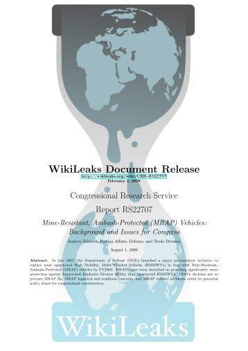 MRAP - WikiLeaks CRS reports