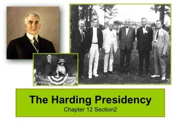 The Harding Presidency Chapter 12 Section2 - Lake Local Schools