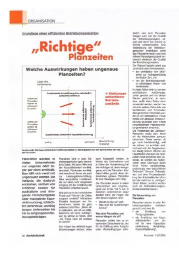 Richtige Planzeiten - HSi GmbH