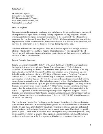 Letter to Treasury Department urging release of Title VI regulations ...