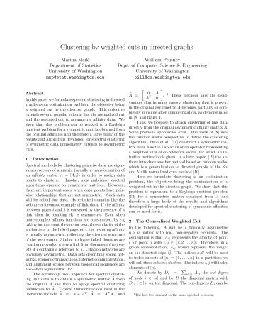 Clustering by weighted cuts in directed graphs - Statistics ...