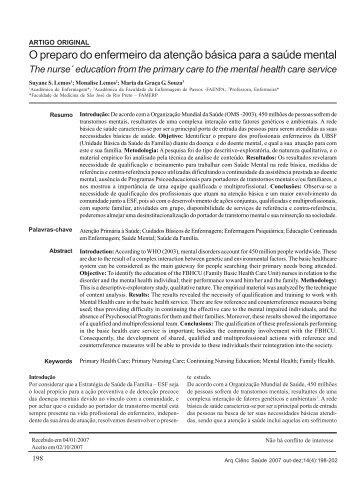 O preparo do enfermeiro da atenção básica para a saúde mental