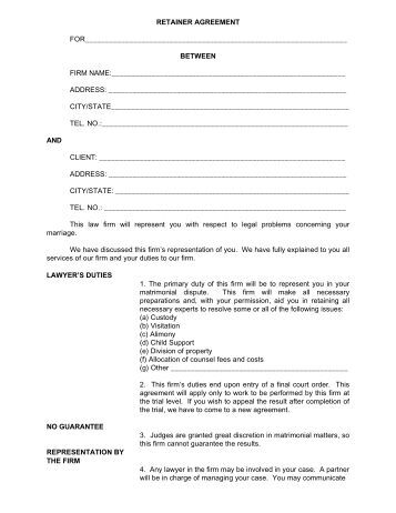 Sample contingency fee retainer agreement bogoroch for Retainer agreement template uk