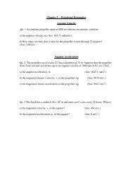 Chapter 9 – Rotational Kinematics Angular Velocity Qu. 1 An ...