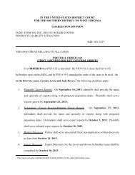 Pretrial Order #60 - August 5, 2013 - Southern District of West Virginia