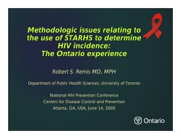 Methodologic issues relating to the use of STARHS to determine HIV ...