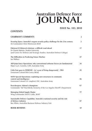 ISSUE 183 : Nov/Dec - 2010 - Australian Defence Force Journal