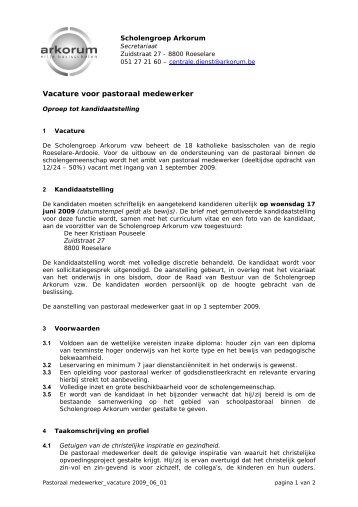 Vacature voor pastoraal medewerker - DPB Brugge