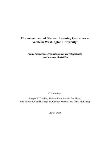 The Assessment of Student Learning Outcomes at Western ...