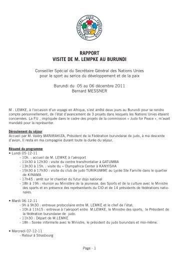 RAPPORT VISITE DE M. LEMPKE AU BURUNDI - Union Africaine ...