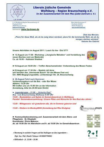 Plan für August 2011 - Liberale Jüdische Gemeinde Wolfsburg ...