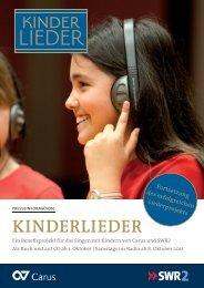KINDERLIEDER Ein Benefizprojekt für das Singen ... - Liederprojekt
