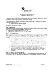 lifesaving cpr instructor transfer application - Lifesaving Society