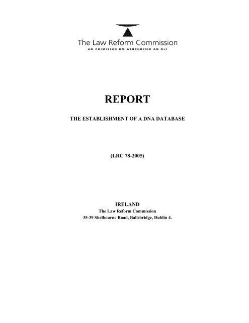 Establishment of a DNA Database - Law Reform Commission