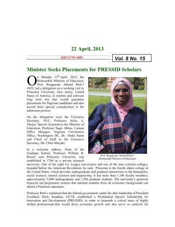22nd April 2013 - National Universities Commission