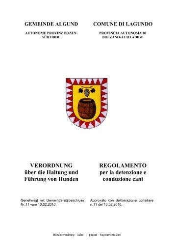 Regolamento per la detenzione e conduzione cani