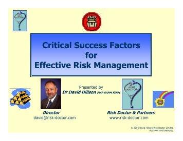 Critical Success Factors for Effective Risk Management