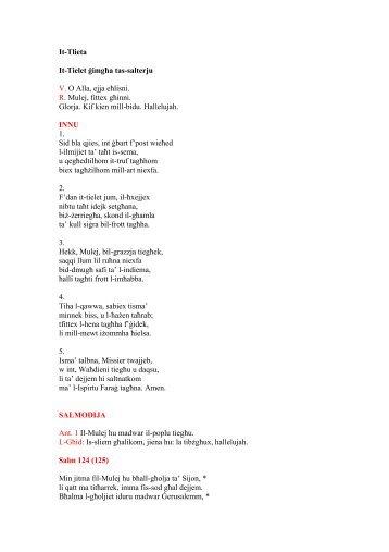 It-Tlieta It-Tielet ġimgħa tas-salterju V. O Alla, ejja eħlisni. R ... - Laikos