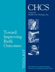 Toward Improving Birth Outcomes - Center for Health Care Strategies