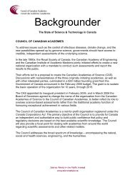 Backgrounder - Council of Canadian Academies