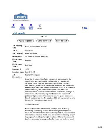 Lowe's Companies Inc - Job details