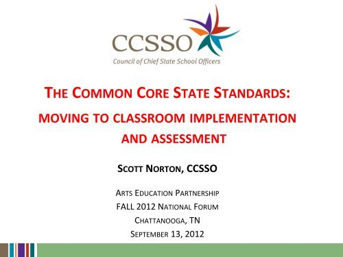 the common core state standards - Arts Education Partnership
