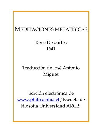Meditaciones metafísicas - Colegio del Rosario de Santo Domingo