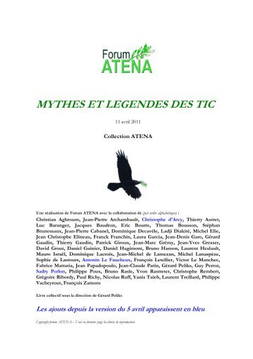 MYTHES ET LEGENDES DES TIC - Forum Atena