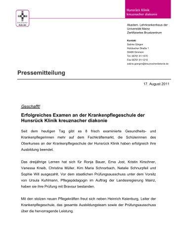 Erfolgreiches Examen an der Krankenpflegeschule - Stiftung ...
