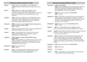 Célébrations en la Paroisse de HOTTON Mai 2012 Mardi 1 : 18h30 ...