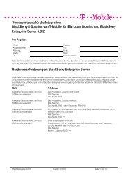 Vorraussetzung für die Integration BlackBerry® Solution von T ...