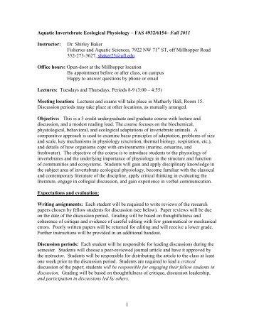 Syllabus-Aquatic Invertebrate Ecological Physiology - University of ...