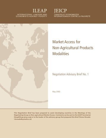 Market Access for Non-Agricultural Products: Modalities - ILEAP
