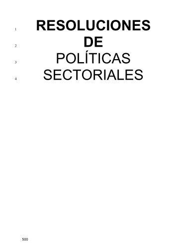 RESOLUCIONES DE POLÍTICAS SECTORIALES - TCM-UGT