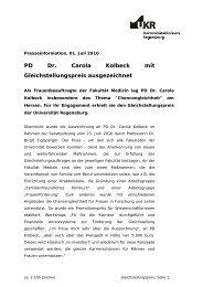 PD Dr. Carola Kolbeck mit Gleichstellungspreis ausgezeichnet