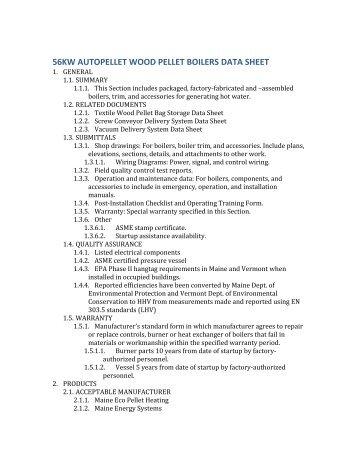 56KW AutoPellet Boiler Data Sheet - Maine Energy Systems