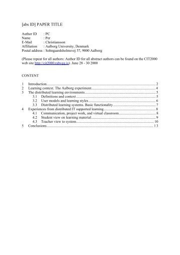 [abs ID] PAPER TITLE - IT in Civil Engineering. Aalborg University