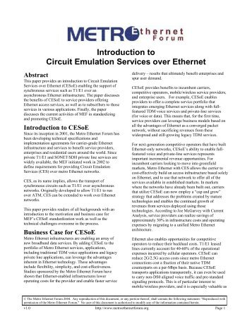 Carrier ethernet 20 certification blueprint version11 mef introduction to circuit emulation services over ethernet cesoe mef malvernweather Image collections