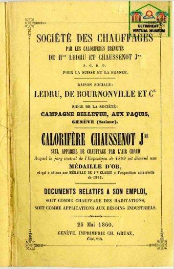CHAUSSENOT calorifères 1860 - Ultimheat