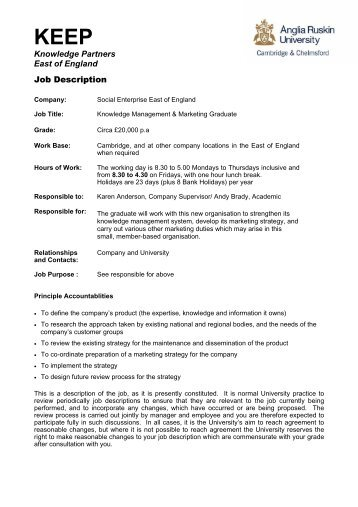 Job Description Knowledge Partners East of England