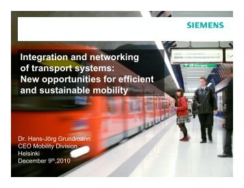 New opportunities for efficient and sustainable mobility - Siemens