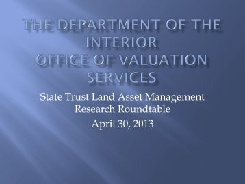 The Department of the Interior Office of Valuation ... - Sonoran Institute
