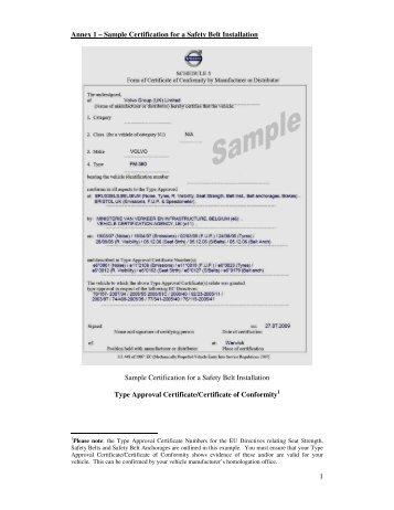1 Annex 1 – Sample Certification for a Safety Belt Installation ...