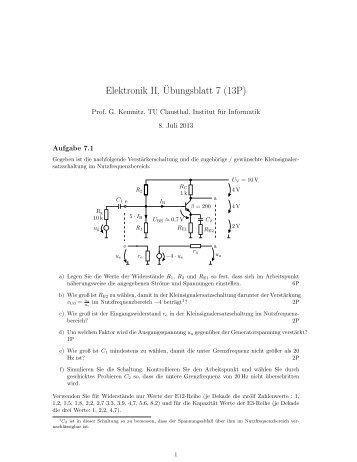 Elektronik II,¨Ubungsblatt 7 (13P)