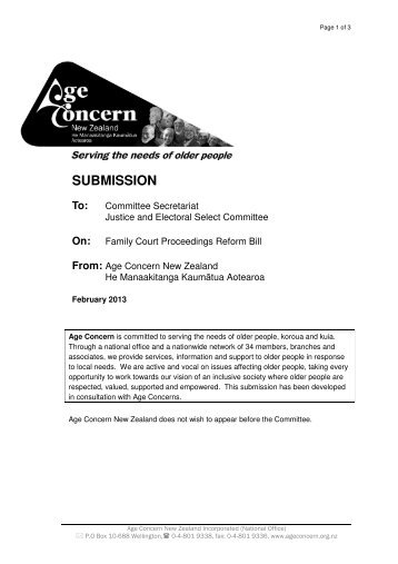 Family Court Proceedings Reform Bill - Age Concern New Zealand
