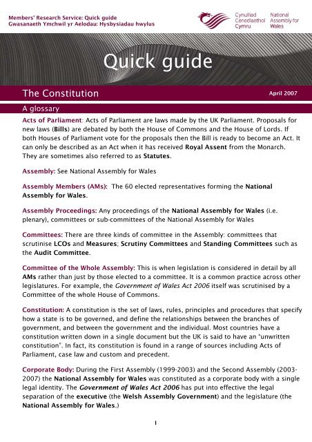 The Constitution - A Glossary - National Assembly for Wales
