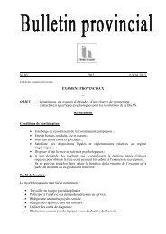 Examen de recrutement n°3 du 6 mai 2013 - La Province de Hainaut