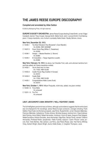 THE JAMES REESE EUROPE DISCOGRAPHY - Mainspring Press