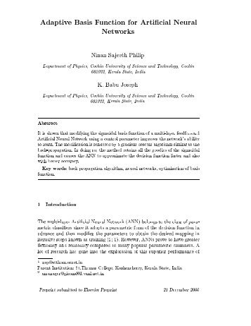 Adaptive Basis Function for Artificial NeuralNetworks - iucaa